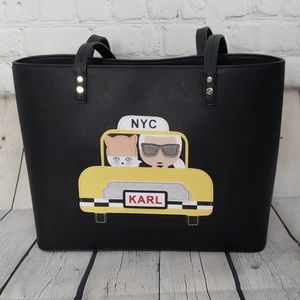 Karl Lagerfeld Maybelle Cat NYC Taxi Black Tote